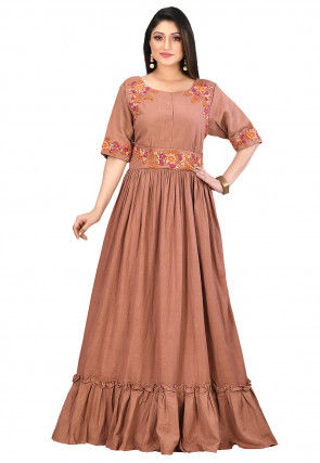 Embroidered Cotton Flex Gown in Light Brown