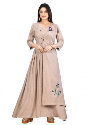 Embroidered Cotton Flex Gown in Light Fawn
