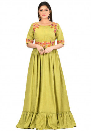 Embroidered Cotton Flex Gown in Light Green