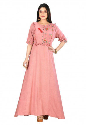 Embroidered Cotton Flex Gown in Light Peach