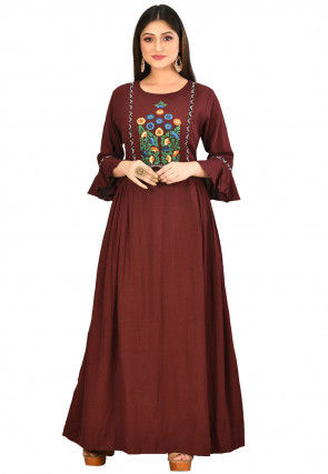 Embroidered Cotton Flex Gown in Maroon