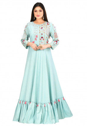 Embroidered Cotton Flex Gown in Sky Blue