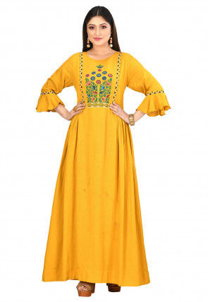 Embroidered Cotton Flex Gown in Yellow