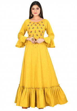 Embroidered Cotton Flex Ruffled Hemline Gown in Yellow