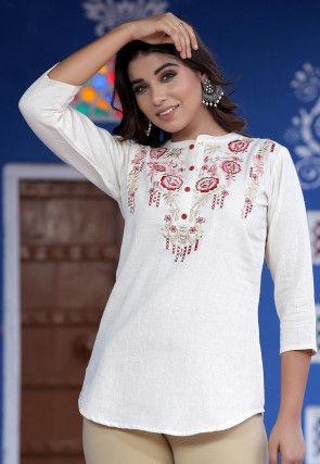 Embroidered Cotton Flex Top in White