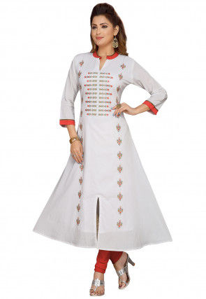 Embroidered Cotton Front Slit A Line Kurta in Off White