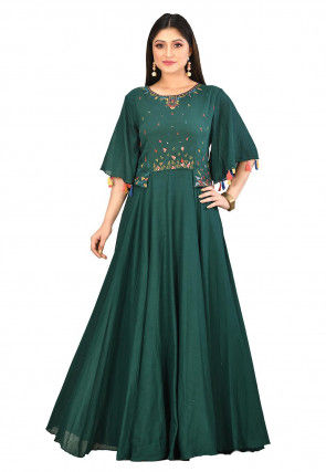 Embroidered Cotton Gown in Dark Green