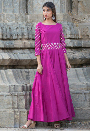 Embroidered Cotton Gown in Magenta
