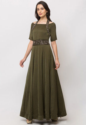 Embroidered Cotton Gown in Olive Green