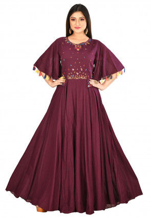 Embroidered Cotton Gown in Wine