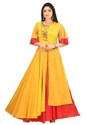 Embroidered Cotton Gown in Yellow and Red
