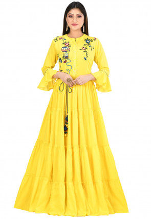 Embroidered Cotton Gown in Yellow