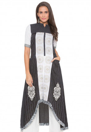 Embroidered Cotton High Low Kurta in Black and Off White