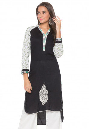 Embroidered Cotton High Low Kurta in Black