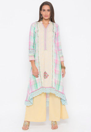 Embroidered Cotton High Low Kurta in Cream and Muticolor