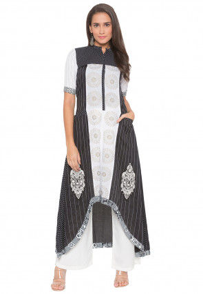 Embroidered Cotton High Low Kurta Set in Black and Off White