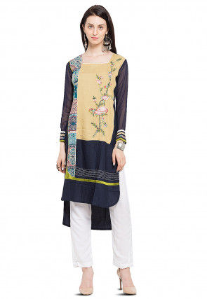 Embroidered Cotton High-Low Kurti in Navy Blue
