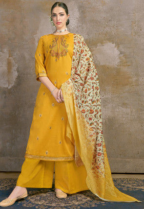Embroidered Cotton Jacquard Pakistani Suit in Mustard