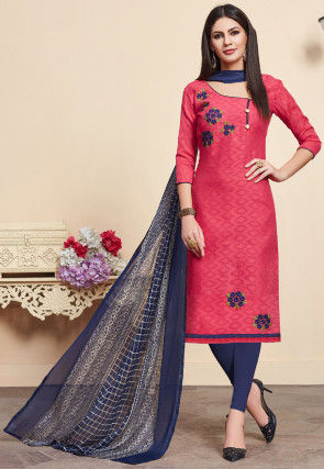 Embroidered Cotton Jacquard Pakistani Suit in Pink