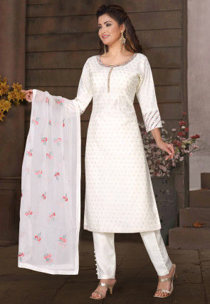Embroidered Cotton Jacquard Pakistani Suit in White