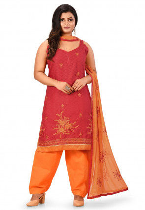 Embroidered Cotton Jacquard Punjabi Suit in Coral Red