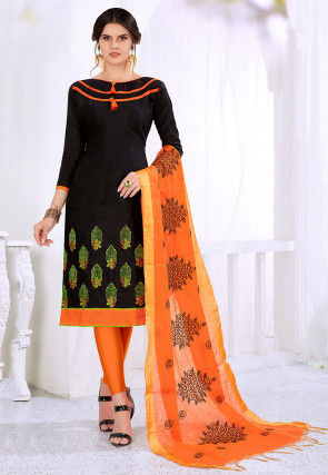 Embroidered Cotton Jacquard Straight Suit in Black
