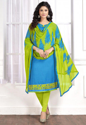 Embroidered Cotton Jacquard Straight Suit in Blue