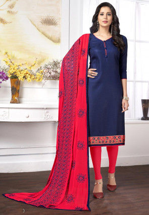 Embroidered Cotton Jacquard Straight Suit in Navy Blue