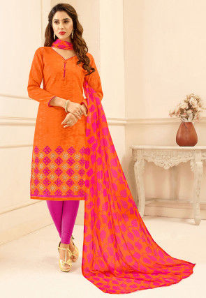 Embroidered Cotton Jacquard Straight Suit in Orange