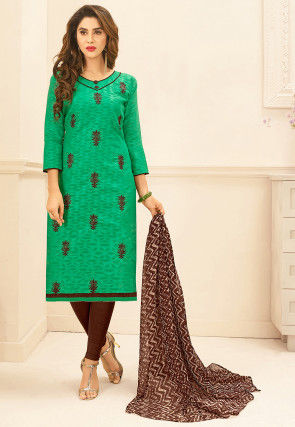 Embroidered Cotton Jacquard Straight Suit in Teal Green