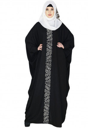 Embroidered Cotton Kaftan Style Abaya in Black