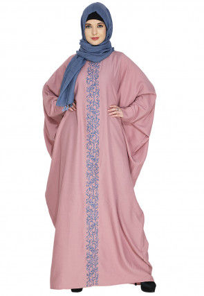 Embroidered Cotton Kaftan Style Abaya in Light Pink