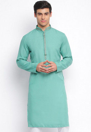Embroidered Cotton Kurta in Teal Green