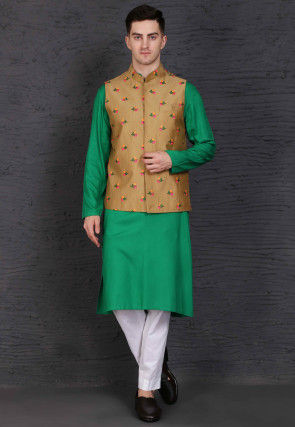 Embroidered Cotton Kurta Jacket Set in Green and Beige
