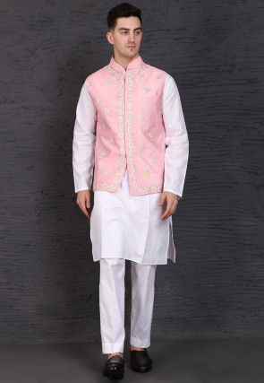 Embroidered Cotton Kurta Jacket Set in White and Pink