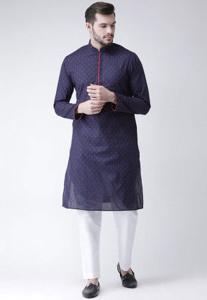 Embroidered Cotton Kurta Pajama in Navy Blue