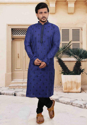 Embroidered Cotton Kurta Set in Blue