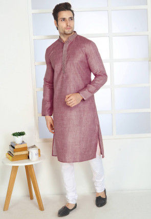 Embroidered Cotton Kurta Set in Dusty Pink
