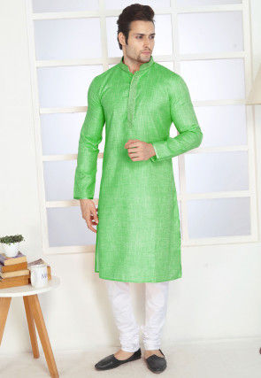 Embroidered Cotton Kurta Set in Light Green