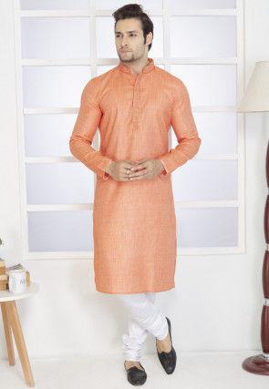 Embroidered Cotton Kurta Set in Light Orange