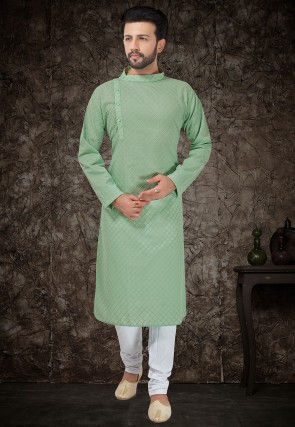 Embroidered Cotton Kurta Set in Light Teal Green