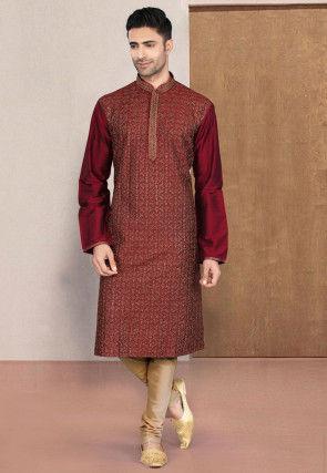 Embroidered Cotton Kurta Set in Maroon