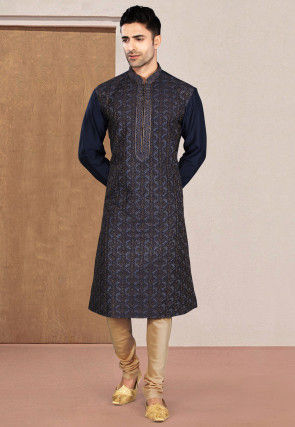 Embroidered Cotton Kurta Set in Navy Blue