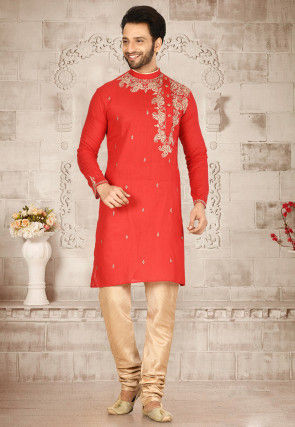 Embroidered Cotton Kurta Set in Red