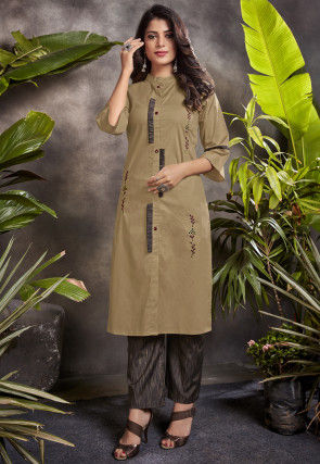 Embroidered Cotton Kurta with Pant in Beige