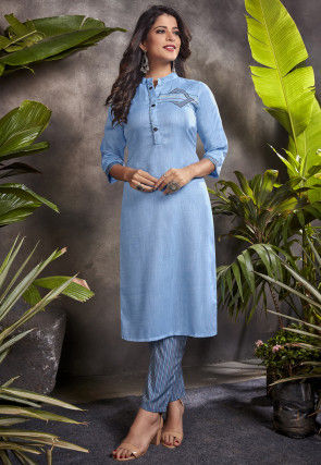 Embroidered Cotton Kurta with Pant in Blue