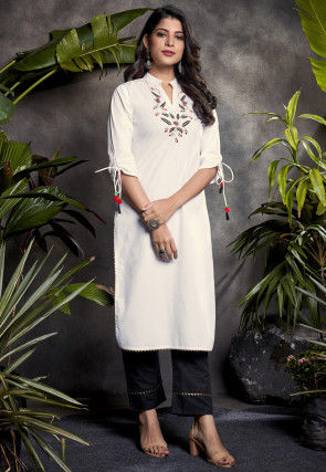 Embroidered Cotton Kurta with Pant in Off White