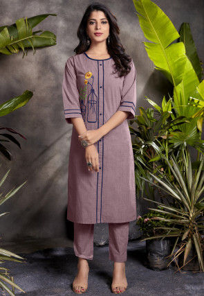 Embroidered Cotton Kurta with Pant in Old Rose