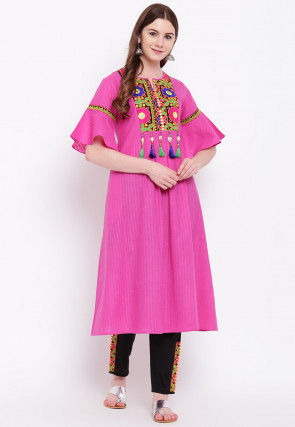Embroidered Cotton Kurta with Pant in Pink