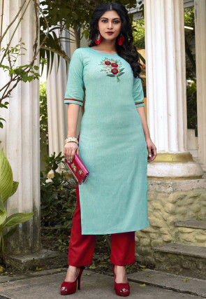 Embroidered Cotton Kurta with Pant in Sky Blue